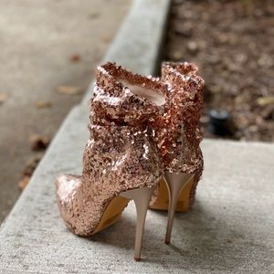 Blush Pink Sequin Slouchy Ankle Booties